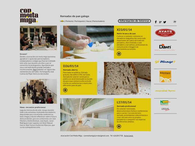 Captura de pantalla da web das xornadas Con Moita Miga 2014
